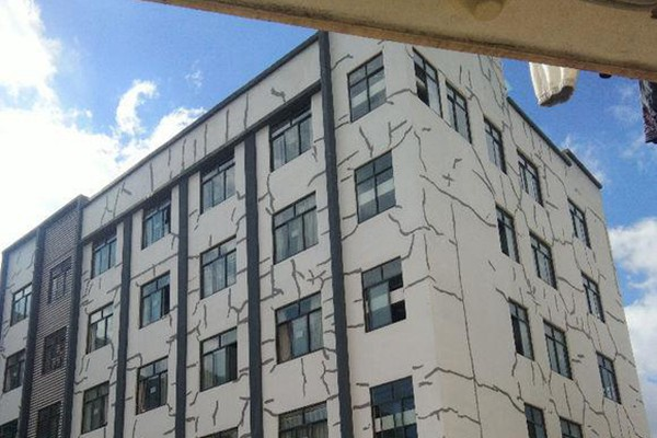 Dormitory building held together by tape?