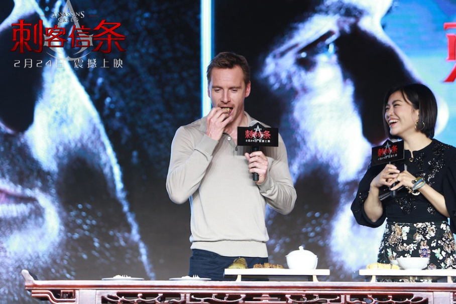 Michael Fassbender promotes Assassin's Creed in Beijing