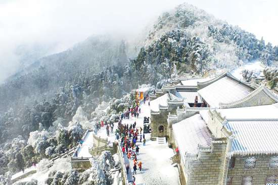 Snow scenery at Hengshan Mountain scenic area in Hunan