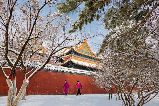 Snowfall hits Hohhot, north China