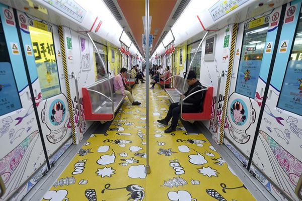 Metro train decorated with animation drawings in Hangzhou