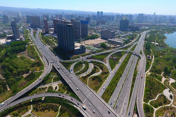 Aerial view of Taiyuan in north China's Shanxi