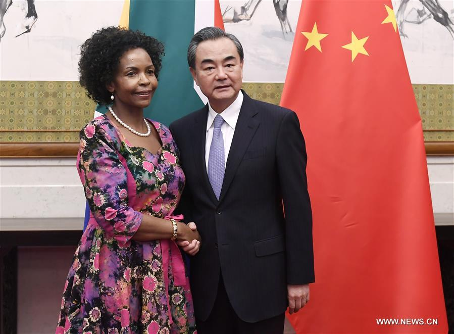 Chinese Foreign Minister Wang Yi (R) meets with South African Foreign Minister Maite Nkoana-Mashabane in Beijing, capital of China, June 18, 2017. (Xinhua/Yan Yan)