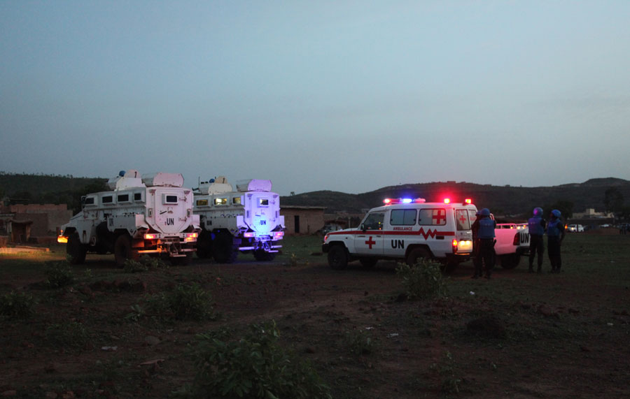 United Nations armored personnel vehicles are stationed with an ambulance outside Campement Kangaba, a tourist resort near Bamako, Mali, Sunday, June 18, 2017. A security official says suspected jihadists have attacked the resort in Mali's capital that is popular with foreigners on the weekends. The official with the U.N. mission known as MINUSMA, said people had been killed and wounded but gave no immediate toll. There also were believed to be hostages inside the luxury resort area. The people inside the Campement Kangaba hotel come from multiple nationalities, he added.
