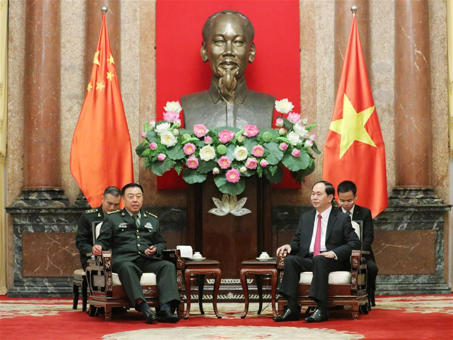 Fan Changlong (L), vice chairman of the Central Military Commission of China, meets with Nguyen Phu Trong, general secretary of the Central Committee of the Communist Party of Vietnam (CPV), in Hanoi, capital of Vietnam, June 18, 2017.(Xinhua/Li Xiaowei)