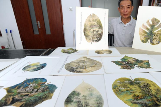 Local artist in E China's Suzhou shows leaf painting artworks
