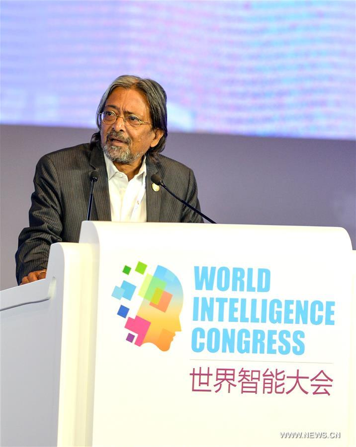 Indrajit Banerjee, Director of the Knowledge Societies Division of UNESCO in the Communication and Information Sector, speaks during the first World Intelligence Congress in Tianjin, north China, June 29, 2017. The congress opened here on Thursday. (Xinhua/Bai Yu)