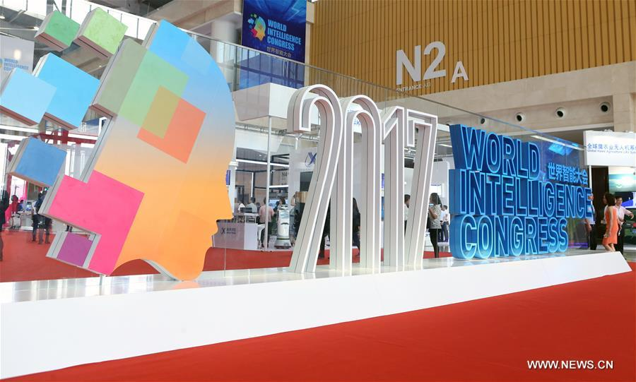 Photo taken on June 29, 2017 shows the venue of the first World Intelligence Congress in Tianjin, north China. The congress opened here on Thursday. (Xinhua/Zhang Yudong)