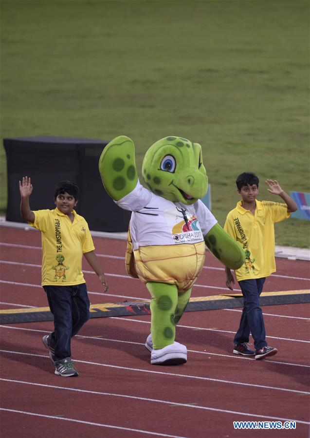 Mascot Olly enters the stadium during the opening ceremony of Asian Athletic Championship (AAC) 2017 held in Bhubaneswar, capital of eastern Indian state Odisha on July 5, 2017. The 22nd AAC kicked off Wednesday in India. (Xinhua/Bi Xiaoyang)