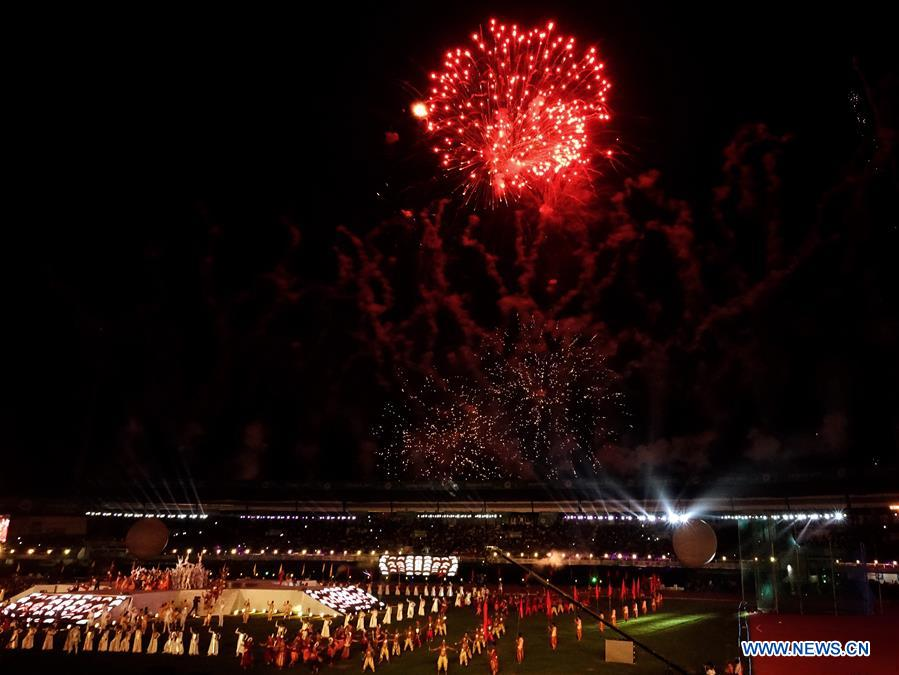Photo taken on July 5, 2017 shows fireworks at the opening ceremony of Asian Athletic Championship (AAC) 2017 held in Bhubaneswar, capital of eastern Indian state Odisha. The 22nd AAC kicked off Wednesday in India. (Xinhua/Tumpa Mondal)