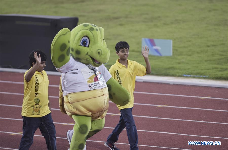 Mascot Olly enters the stadium during the opening ceremony of Asian Athletic Championship (AAC) 2017 held in Bhubaneswar, capital of eastern Indian state Odisha, on July 5, 2017. The 22nd AAC kicked off Wednesday in India. (Xinhua/Bi Xiaoyang)