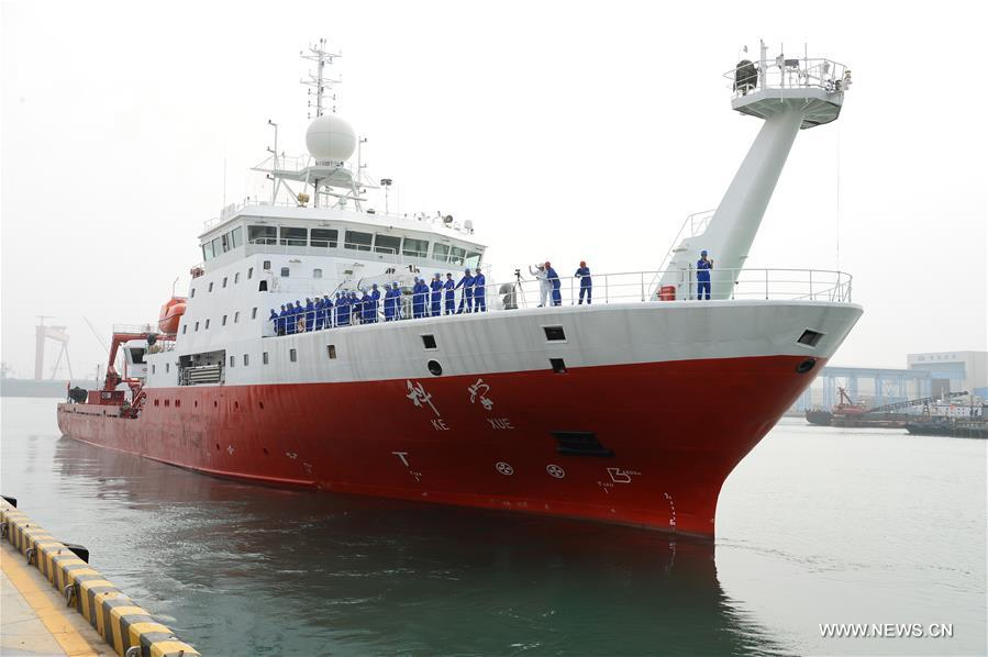 Photo taken on July 10, 2017 shows the comprehensive research vessel, the Kexue (Science), leaving a port in Qingdao, east China's Shandong Province. The 99.6-meter-long and 17.8-meter-wide ship carrying scientific detection equipments domestically developed by China set off here Monday. (Xinhua/Zhang Xudong)