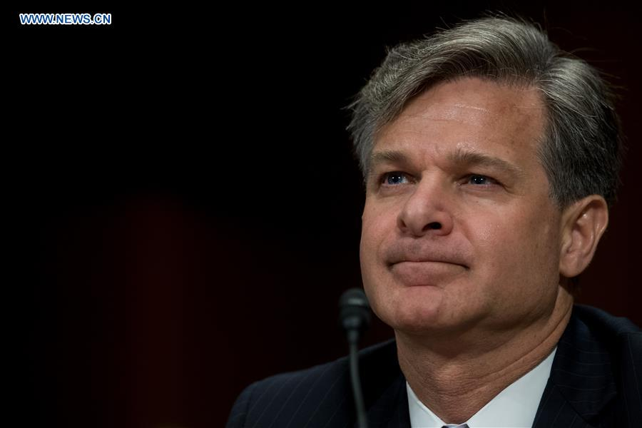 Christopher A. Wray attends the Senate Judiciary Committee hearing on his nomination to be the new Director of the Federal Bureau of Investigation (FBI) in Washington D.C., the United States, on July 12, 2017. (Xinhua/Ting Shen)