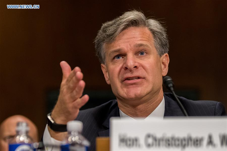 Christopher A. Wray testifies during the Senate Judiciary Committee hearing on his nomination to be the new Director of the Federal Bureau of Investigation (FBI) in Washington D.C., the United States, on July 12, 2017. (Xinhua/Ting Shen)