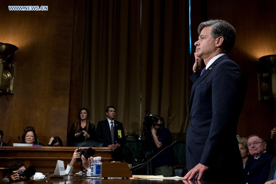 Christopher A. Wray is sworn in during the Senate Judiciary Committee hearing on his nomination to be the new Director of the Federal Bureau of Investigation (FBI) in Washington D.C., the United States, on July 12, 2017. (Xinhua/Ting Shen)