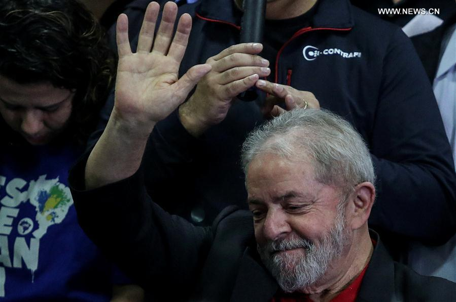Former Brazilian President Luiz Inacio Lula da Silva reacts during a press conference at the headquarters of the Workers' Party in Sao Paulo, Brazil, July 13, 2017. Luiz Inacio Lula da Silva said on Thursday that he still intended to run for president in the 2018 elections. This came a day after he was sentenced to nine-and-a-half-year in prison for corruption and was barred from running for public office for 19 years. (Xinhua/Rahel Patrasso)