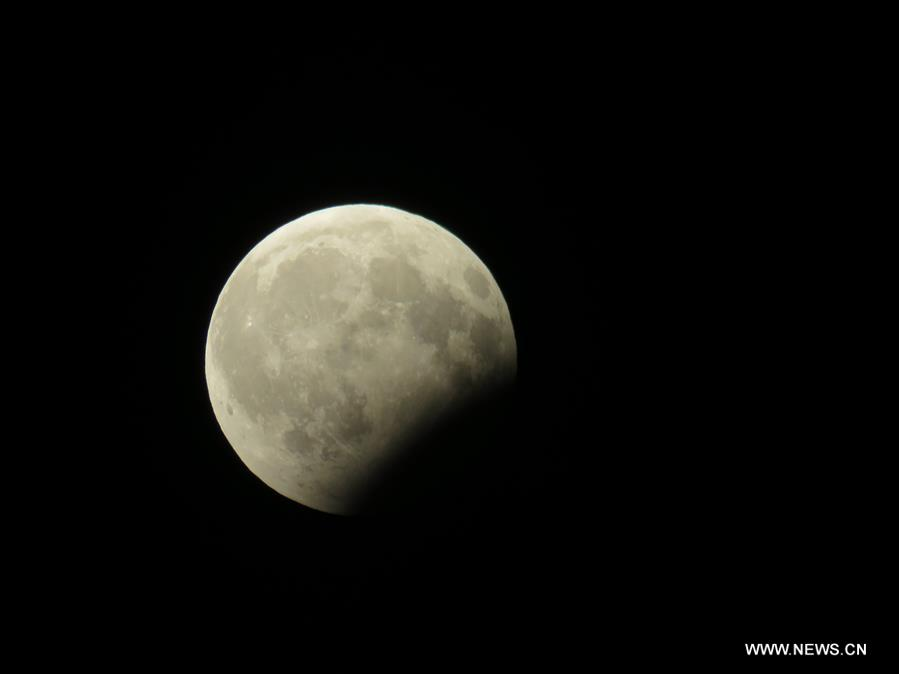 Photo taken on Aug. 7, 2017 shows the moon during partial lunar eclipse over Baghdad, Iraq. (Xinhua/Khalil Dawood)