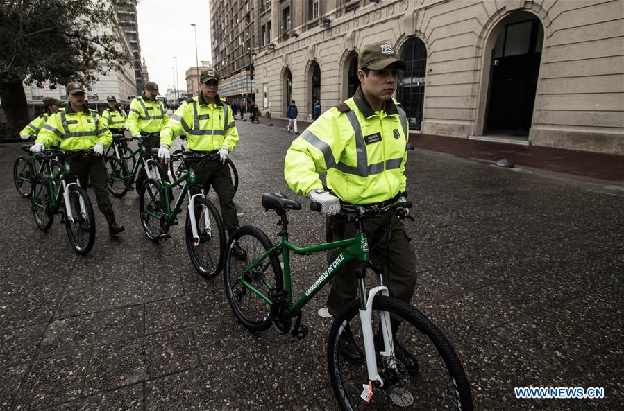 Chilean police officers patrol with bicycles donated by China in Santiago, capital of Chile on Aug. 8, 2017. A new donation of Chinese bicycles to be used on local police patrols was formalized Tuesday in a ceremony headed by Felipe Alessandri, the mayor of Santiago, and Chinese Ambassador to Chile Li Baorong. The bicycles will help to increase patrols in crowded places and reduce crime and insecurity. (Xinhua/Jorge Villegas)