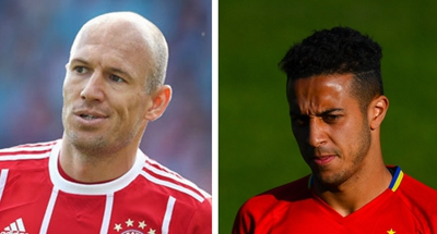Bayern's Robben, Thiago sidelined with injuries