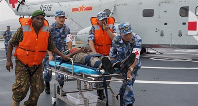 Joint emergency medical rescue drill marks high point of Chinese naval hospital ship's PNG mission