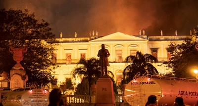 Priceless damage to artifacts as fire tears through Rio museum