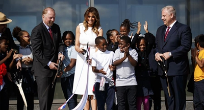 U.S. first lady attends reopening of Washington Monument