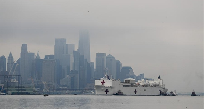 U.S. Navy ship arrives in NYC to ease pressure on city hospitals