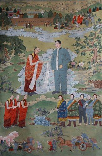 <em>Mao Zedong Visiting the Yongshou Temple</em> by Dhondub TshetenInset: Dhondub TshetenPhotos: Courtesy of Li Haiyan
