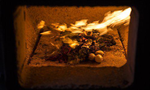A burning furnace in a pet crematorium. Photo: CFP