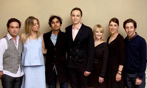 From left: Big Bang Theory cast members Johnny Galecki, Kaley Cuoco, Kunal Nayyar, Jim Parsons, Melissa Rauch, Mayim Bialik and Simon Helberg Photo: IC