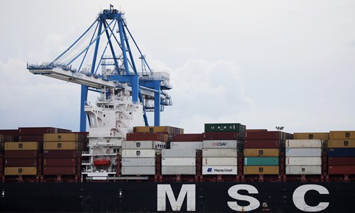 Cranes unload the freight ship MSC Gayane, after US authorities seized around 16 tons of cocaine at the Packer Marine Terminal in Philadelphia on Tuesday. Photo: AFP