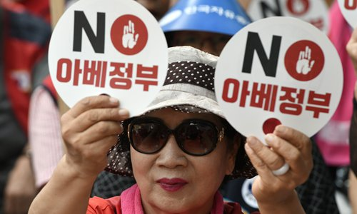 "A South Korean protester holds up signs reading ""NO to Abe government"" during an anti-Japanese rally in Seoul on Tuesday. South Korea on Monday put Japan into its own new export category as President Moon Jae-in called Tokyo's latest measures ""very serious,"" intensifying a trade war between the two neighbors and US allies. Photo: AFP"