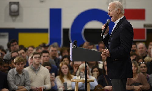 Democratic presidential candidate former Vice President Joe Biden speaks at a town hall event in Des Moines, Iowa, on Sunday. Democratic candidates raced across Iowa on Sunday in a last-minute flurry of rallies and hand-shakes ahead of the state's nominating vote that marks the official start of the US presidential election season. Iowa has traditionally served as a vital launching point - or burial ground - for presidential hopefuls. Photo: AFP
