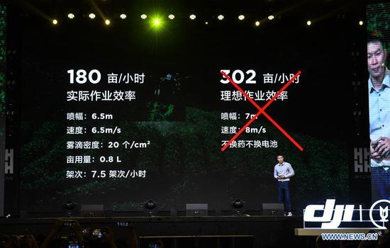 A staff of Chinese drone maker DJI introduces the company's latest crop protection drone, the T20, at a product launch event in Shenzhen, south China's Guangdong Province, Nov. 5, 2019. Besides the new T20 crop protection drone, DJI also introduced an upgraded version of the drone's spray system as well as appertaining service and training plans on Tuesday. (Xinhua/Mao Siqian)