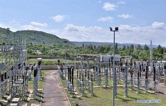 Photo taken on June 11, 2019 shows a transformer substation in Adama, Ethiopia. Steady power supply was acheived since a Chinese-built power distribution, rehabilitation and upgrading project involving 8 Ethiopian cities was put into operation in March 2019. (Xinhua/Wang Teng)