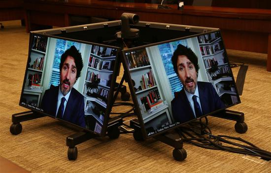 Canada's Prime Minister Justin Trudeau testifies via video conference during a House of Commons Standing Committee on Finance on July 30 in Ottawa, Canada.