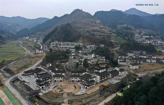 Aerial photo taken on Feb. 28, 2019 shows the Yunqi poverty alleviation settlement in Yuping Dong Autonomous County of Tongren, southwest China's Guizhou Province. (Xinhua/Yang Wenbin)