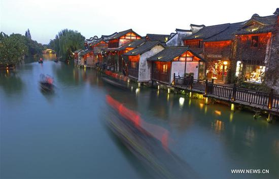 Photo taken on Nov. 6, 2018 shows the scenery of Wuzhen, east China's Zhejiang Province. The fifth World Internet Conference (WIC) is scheduled to run from November 7-9 in the river town of Wuzhen. (Xinhua/Cai Yang)