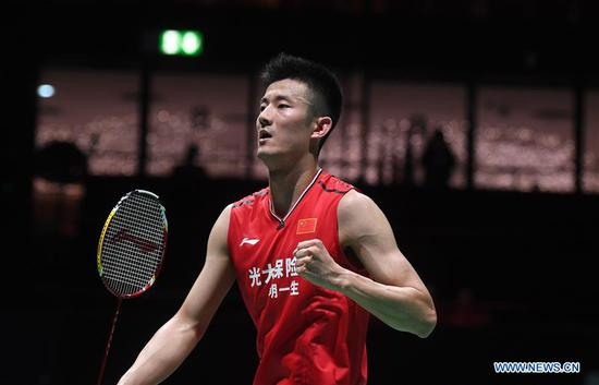 China's Chen Long celebrates during the men's singles first round match against Russia's Vladimir Malkov at the BWF World Championships 2019 in Basel, Switzerland, Aug. 19, 2019. (Xinhua/Li Jundong)