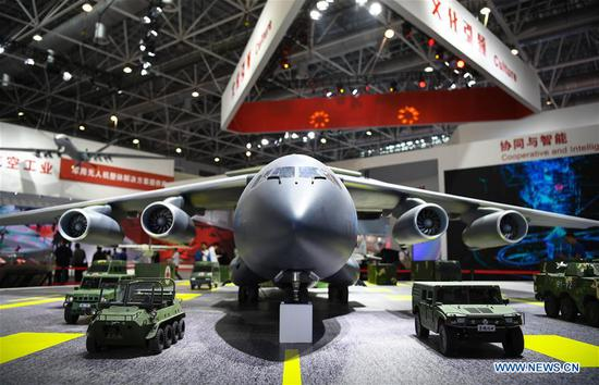 Photo taken on Nov. 5, 2018 shows a Y-20 model at the AVIC (Aviation Industry Corporation of China, Ltd.) exhibition area of the upcoming China International Aviation and Aerospace Exhibition in Zhuhai, south China's Guangdong Province. The exhibition is scheduled to be held on Nov. 6-11. (Xinhua/Deng Hua)