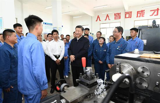 Chinese President Xi Jinping, also general secretary of the Communist Party of China Central Committee and chairman of the Central Military Commission, makes an inspection tour to the Bailie School and a horse ranch in Shandan County of Zhangye, northwest China's Gansu Province, Aug. 20, 2019. (Xinhua/Xie Huanchi)