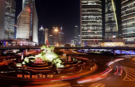 Photo taken on Jan. 14, 2021 shows a night view of Lujiazui in Pudong of east China's Shanghai Municipality. (Xinhua/Fang Zhe)
