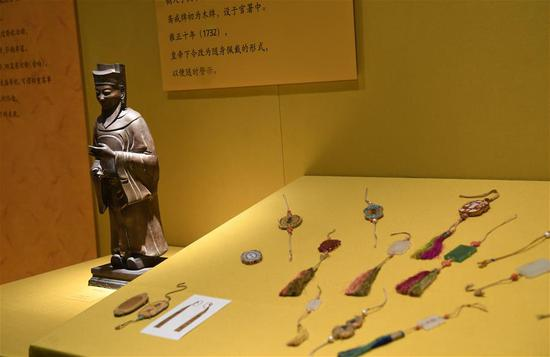Exhibits are displayed at the Palace Museum, also known as the Forbidden City in Beijing, capital of China, Jan. 7, 2019. In celebrating of the most magnificent of all traditional holidays, the Palace Museum presents exhibition of