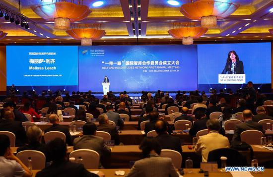 Melissa Leach, director of Institute of Development Studies, UK, speaks during the inauguration meeting of the Belt and Road Studies Network (BRSN) in Beijing, capital of China, April 24, 2019. The Belt and Road Studies Network (BRSN), co-initiated by Xinhua Institute and 15 other think tanks, was inaugurated in Beijing Wednesday. (Xinhua/Zhang Yuwei)
