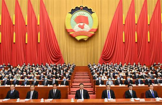 Xi Jinping, Li Keqiang, Li Zhanshu, Wang Huning, Zhao Leji, Han Zheng and Wang Qishan attend the opening meeting of the third session of the 13th National Committee of the Chinese People's Political Consultative Conference (CPPCC) at the Great Hall of the People in Beijing, capital of China, May 21, 2020. (Xinhua/Li Xueren)
