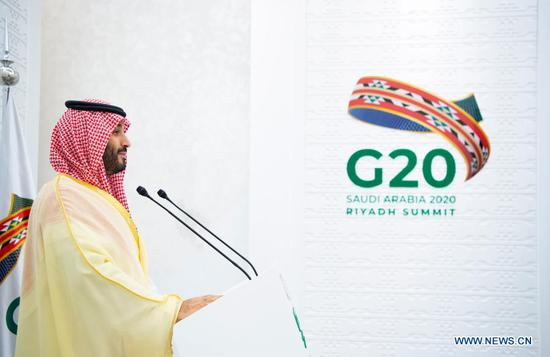 Saudi Crown Prince Mohammed bin Salman Al Saud chairs the final session of the second day of the G20 summit in Riyadh, Saudi Arabia, on Nov. 22, 2020. The Saudi Arabia's Group of 20 (G20) presidency proposed an initiative to enhance access to pandemic tools during the G20 Leaders' Summit, the Saudi Press Agency reported on Sunday. (G20 Saudi Arabia/Handout via Xinhua)