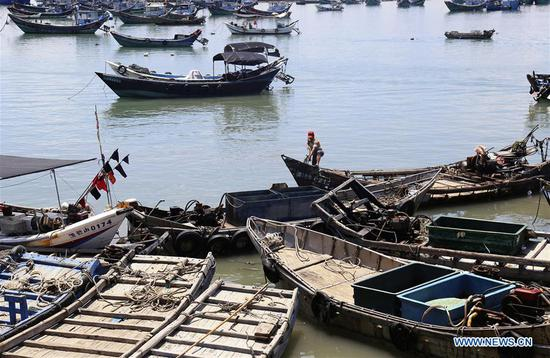 Fishing boats are seen at berth at a harbor in Liuao Township of Zhangpu County, southeast China's Fujian Province, July 9, 2018. A yellow-level alert has been issued and third-level emergency response has been activated to cope with approaching typhoon Maria, the eighth typhoon this year, in China's coastal provinces. (Xinhua/Qiu Feng)