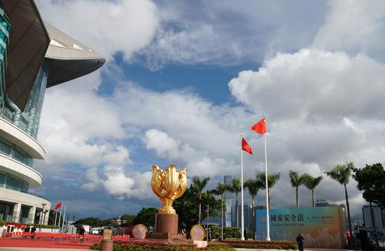 Photo taken on July 1, 2020 shows the Golden Bauhinia Square after a flag-raising ceremony held by the government of the Hong Kong Special Administrative Region to celebrate the 23rd anniversary of Hong Kong's return to the motherland in Hong Kong, south China. (Xinhua/Li Gang)