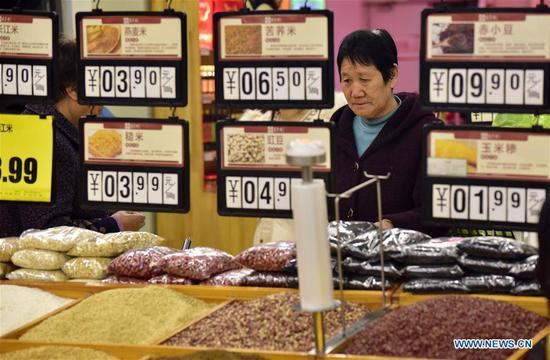 2月份中国消费物价指数上涨1.5%