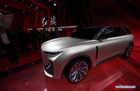 A FAW-Hongqi E115 concept car is on display during the first press day of Germany's International Motor Show (IAA) 2019 in Frankfurt, Germany, on Sept. 10, 2019. First launched in 1897, the IAA is a leading motor show in the world. The IAA 2019 will last until Sept. 22, with the exhibition open to the general public from Sept. 14. (Xinhua/Lu Yang)